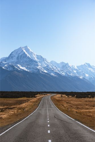 snow capped Mount Cook in New Zealand