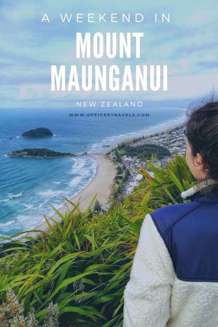 A pinterest pin showing Leah on top of Mount Maunganui with text overlay