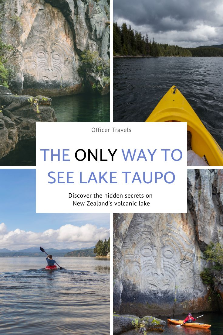 Discover the hidden Maori rock carvings with our guide! We'll tell you exactly where (and how!) to find these amazing pieces of art, as well as everything you need to know about the area! #Taupo #Maori #kayaking #adventuretravel #outdoortravel #NewZealand
