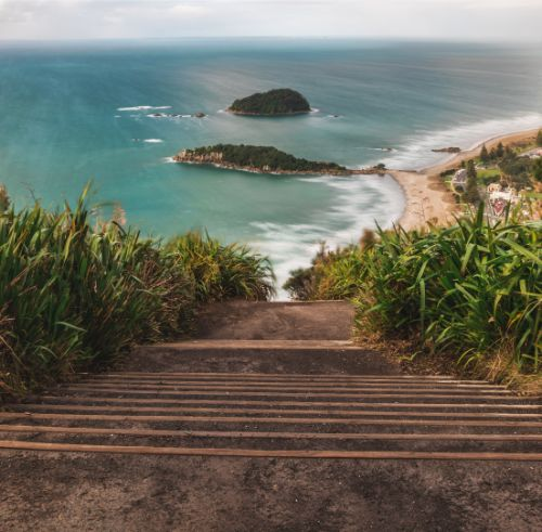 The view from the top of Mount Maunganui from the top of a staircase