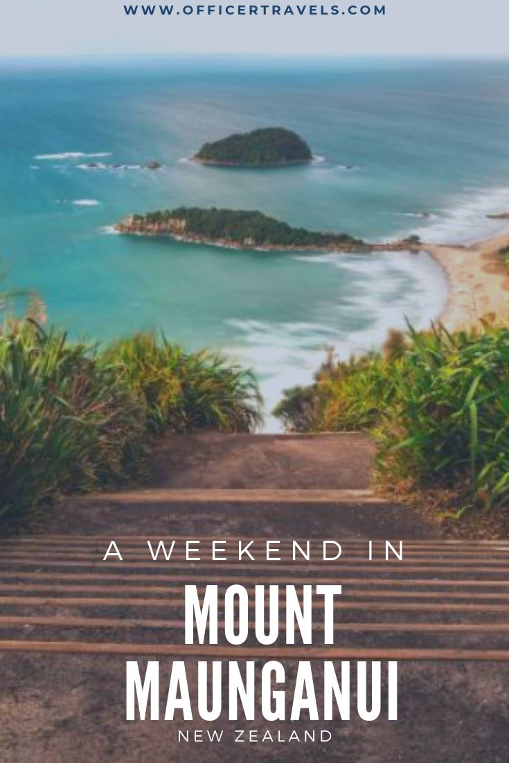 A pinterest pin looking down the steps on top of Mount Maunganui with text overlay