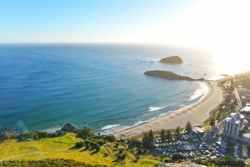 The view from the top of Mount Maunganui over the city of Tauranga - North Island hikes