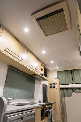 A image showing the inside of a Britz Motorhome
