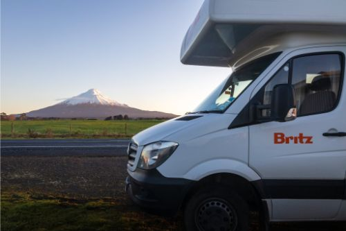 Britz campervan and Mount Taranaki