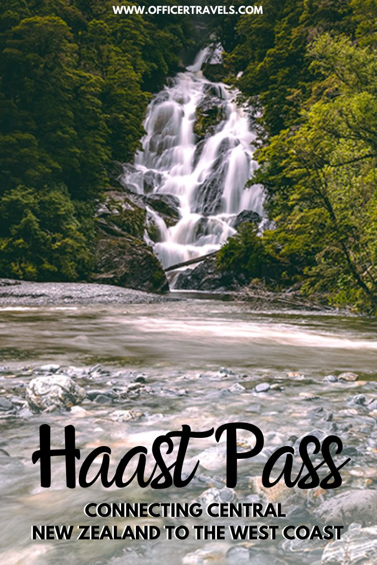 A pinterest image for things to see along Haast Pass