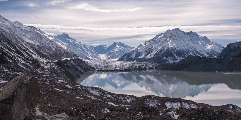 Landscape image from the top of the Tasman Glacier Viewpoint. Reflection in Tasman Lake with a moody sky